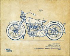 Vintage Harley-davidson Motorcycle 1928 Patent Artwork by Nikki Smith