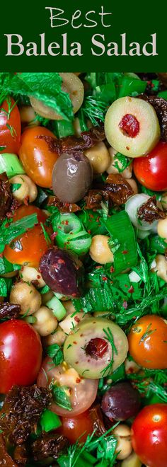 Balela Salad Recipe | The Mediterranean Dish. Bright, flavor-packed Mediterranean chickpea salad with chopped veggies, lots of herbs, and favorites like olives and sun-dried tomatoes. A zesty dressing brings it all together! A simple recipe from TheMediterraneanDish.com #