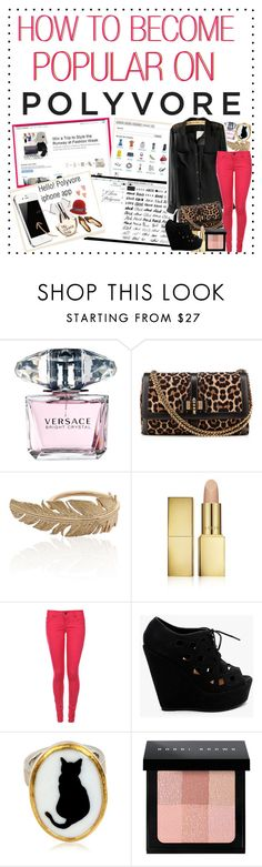 """""""How To: Become Popular on Polyvore"""" by angelechantelle ❤ liked on Polyvore featuring Versace, Christian Louboutin, JOANNA DAHDAH, AERIN, Tokyo Laundry, Materia Prima and Bobbi Brown Cosmetics"""