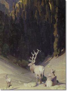 William Herbert Dunton - Elk by William Herbert Dunton | Painting