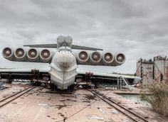 Abandoned plane - looks like a Russian Ekranoplan, ground effect flying boat
