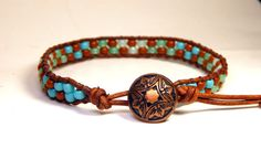 Check out this item in my Etsy shop https://www.etsy.com/listing/238175171/beaded-leather-wrap-bracelet-copper-sea