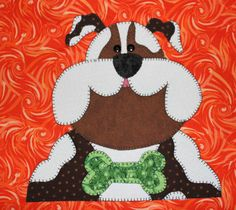Bulldog applique wall hanging.  Dog quilt.