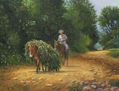 A Load Of Grass in Painting by German Jaramillo-mckenzie Grass, German, Horses, Creative Art, Painting, Animals, Deutsch, German Language, Creative Artwork