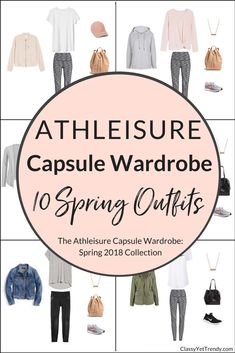 Create an Athleisure capsule wardrobe for the Spring season! This post is a preview of the newest eBook in the capsule wardrobe series, The Athleisure Capsule Wardrobe: Spring 2018 Collection. I'm sharing a few featured clothes, shoes and accessories in this capsule wardrobe and will share how you can mix and match those items to create 100 outfits!