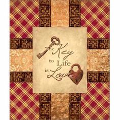 Love Is Key Primitive Pattern Patchwork Folk Inspirational Painting Red & Tan Canvas Art by Pied Piper Creative