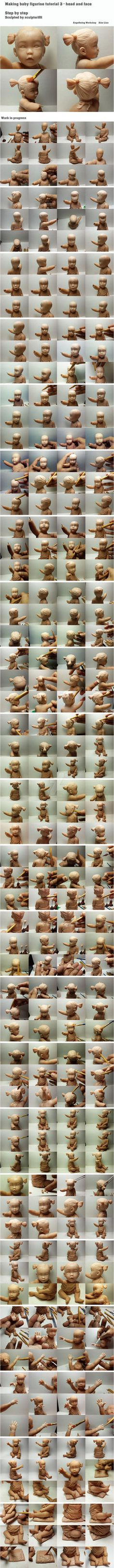 Making baby figurine tutorial 3 - the head, face, hand and cushion base   The attached pictures are the rest of process of baby figurine. I know there are a whole lots of pictures. It may take...