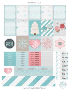 Free Printable Winter Fun Planner Stickers