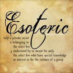 Word… Esoteric