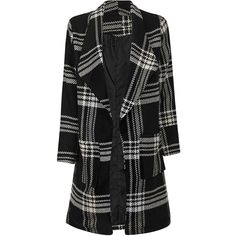 Yoins Grid Lapel Neck Woolen Coat With Double Side Pockets (19.805 HUF) ❤ liked on Polyvore featuring outerwear, coats, yoins, jackets, black, lapel coat, patterned wool coat, pattern coat, print coat and wool coat