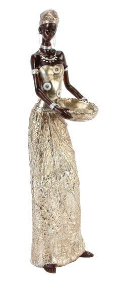 Golden-Gold-Leaf-African-Masai-Lady-Figurine-Gift-Ornament-Massai-Sculptures