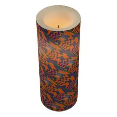 Colorful flameless Candle Orange Purple Teal Abstract #zazzle #candles #gifts