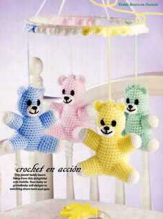 Free crochet pattern for tiny bears mobile