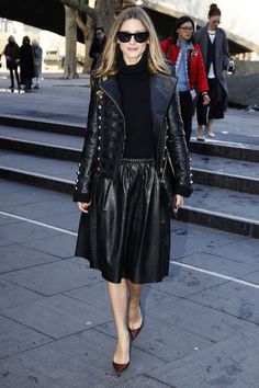 Olivia Palermo in black leather at London Fashion Week