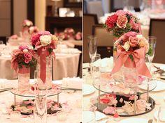 ゲストテーブル,装花,ガラス,シリンダー,ゼリー,ミラー