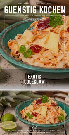 Mit diesem einfachen Rezept gelingt dir der perfekte exotische Cole Slaw Salat, mit dem du auf der nächsten Grillparty, zu Fleisch - Würstchen - etc, einen wahren Gaumenschmaus präsentieren wirst. #food #recipes #rezepte #yummy #ideen Lunch Recipes, Salad Recipes, Easy Recipes, Food Tags, Italian Salad, Food Garnishes, Convenience Food, Healthy Salads, Coleslaw