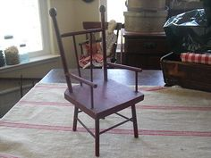 Doll Sized Red Victorian Chair Painted Red Victorian Chair, Virginia City, Stool, Dining Chairs, Dolls, Antiques, Table, Red, Furniture