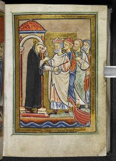 St Cuthbert meets King Ecgfrith of Northumbria and others, from Bede's Prose Vita S Cuthberti, England (Durham), c. Yates Thompson MS f. Medieval Manuscript, Medieval Art, Illuminated Manuscript, Kingdom Of Northumbria, Sea Peoples, St Cuthbert, Old Newspaper, The Monks, Anglo Saxon