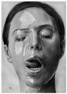 Sweet - Graphite Pencil Sketch on paper. INSANE shadowing to make the face look dripping wet!