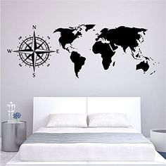 Yanqiao World Map Wall Stickers PVC Removable Home Bedroom Background Wall Decals Wallpaper -- You can get more details by clicking on the image.
