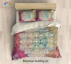 Bohemian bedding, Mandala duvet cover set, Bohochic rustic bedroom, bohemian vintage decor