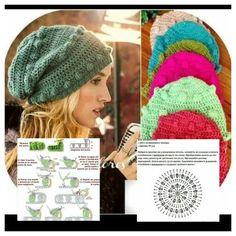 Patrones gorros a crochet para bebes Crochet Beret, Crochet Kids Hats, Crochet Slippers, Knitted Hats, Crochet Diagram, Crochet Chart, Crochet Stitches, Crochet Patterns, Sombrero A Crochet