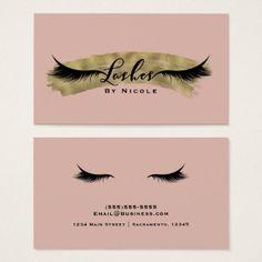 Nude Blush Pink & Gold Modern Glam Lashes Eyelash Business Card - chic design idea diy elegant beautiful stylish modern exclusive trendy