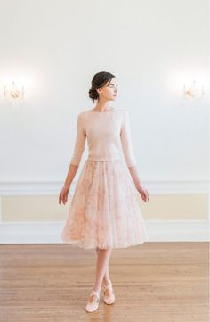 Floral printed bridesmaid skirt and sweater | Bridesmaid separates by Jenny Yoo Photo by Caroline Tran