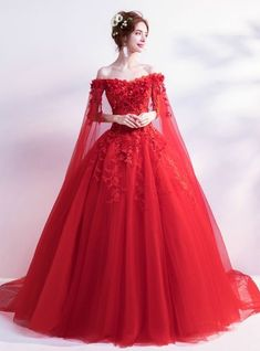 In Stock:Ship in 48 Hours Red Tulle Appliques Wedding Dress - Braut Red Ball Gowns, Tulle Ball Gown, Red Gowns, Ball Gown Dresses, Prom Dresses, Red Gown Dress, Red Color Dress, Color Red, Red Lace Gown