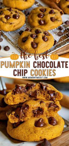 Pumpkin Cookie Recipe, Chip Cookie Recipe, Pumpkin Pie Recipes, Easy Cookie Recipes, Pumpkin Dessert, Easy Recipe For Pumpkin Pie, Healthy Pumpkin Cookies, Homemade Pumpkin Puree, Pumpkin Pies