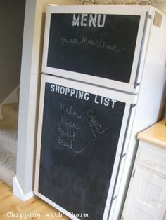 you can get stick on chalk boards from target... good for writing notes to roomies! You can also get white boards instead of chalk boards too!