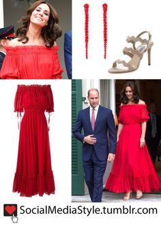 Buy Kate Middleton's Red Off-the-Shoulder Dress, Red Beaded Drop Earrings, and Beige Wavy Strap Sandals, here!