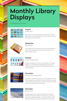 displays monthly library Monthly Library DisplaysYou can find Library book displays and more on our website School Library Displays, Middle School Libraries, Elementary Library, School Library Decor, School Library Lessons, Library Bulletin Boards, Bulletin Board Display, Library Science, Library Activities
