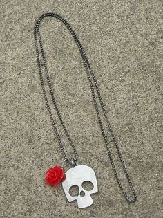 Day of the Dead Dia de los Muertos Red Rose & Skull Necklace, available in my Etsy shop, InkandRoses13