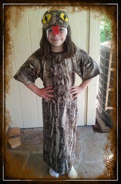 snake costume- make a simple tunic out of snake skin fabric. Cover a baseball cap with the fabric, felt for eyes and toungue.