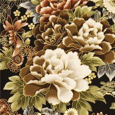 black Robert Kaufman fabric with Asian flowers & border
