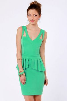 Sexy Mint Green Dress - Peplum Dress - $37.00
