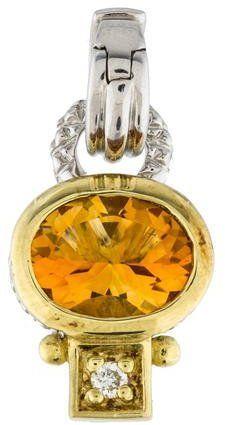 Judith Ripka Diamond & Citrine Pendant