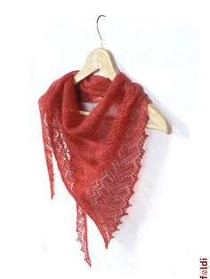 """Knitted red silk and mohair lace scarf  triangle """"Smoldering Leaf"""". $75.00, via Etsy."""
