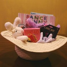 Easter basket for 2 year old boy easter pinterest easter easter basket for a 1 12 year old girl used a sun hat negle Image collections