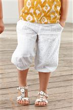 White Broderie Cropped Trousers (3mths-6yrs)