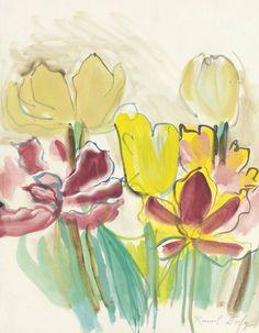 """""""Raoul Dufy (1877-1953) Tulipes pour l'Herbier de Colette (1948) gouache and watercolor on paper 33 x 25 cm """""""