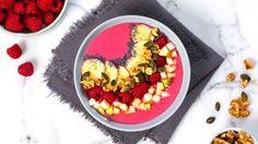 Oppskrift på Smoothie bowl med bringebær
