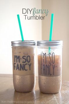 Cute DIY Mason Jar Ideas - DIY Fancy Mason Jar Tumbler - Fun Crafts, Creative Room Decor, Homemade Gifts, Creative Home Decor Projects and DIY Mason Jar Lights - Cool Crafts for Teens and Tween Girls http://diyprojectsforteens.com/cute-diy-mason-jar-crafts