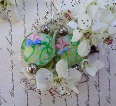Springtime Lamp Glass Earrings by PraytorProject on Etsy,