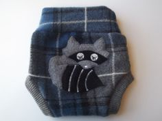 SMALL Wool Diaper Cover Raccoon Upcycled Cloth Diaper Soaker