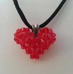 Red Swarvoski Crystal Puffy Heart by ItsALynn on Etsy