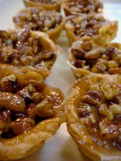Mini Pecan Pies ~ using frozen pre-made pie crust so they…