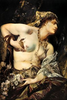 Death of Cleopatra by Hans Makart Sold at auction for Euros. The painting depicts the dramatic moment immediately after the snake has plunged its poisonous fangs into Cleopatra's breast. Jean Leon, Munier, Academic Art, Traditional Paintings, Detail Art, Gustav Klimt, Erotic Art, Beautiful Paintings, Art History