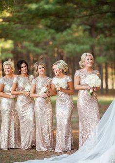 Sequin Beaded Cap Sleeve Long Sheath Sparkling Bridesmaid Dress